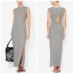 FREE PEOPLE Open Back Maxi Dress Front Slit Grey